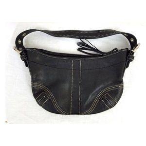 Coach Black Leather Purse w/ Tassel